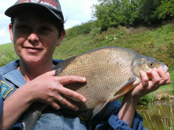Jenny Scott catches 3lb 8oz Bream at Newbarn Lilly Pond 27 May 2012